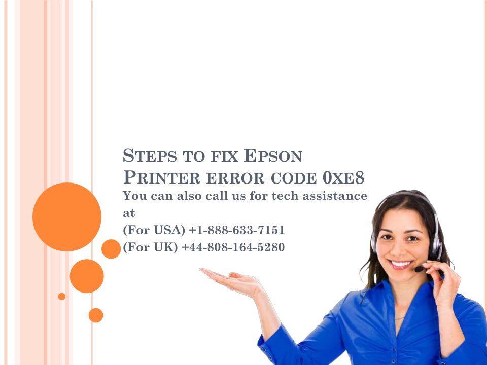 Steps To Fix Epson Printer Error Code 0xe8